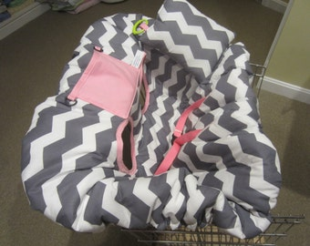 Gray Chevron Print with Med. Pink Shopping Cart Cover and Pillow