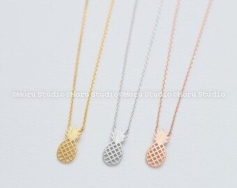 Dainty Pineapple Necklace-Gold, Silver, Rose Gold Pineapple, Nature Jewelry, Bridesmaid Gift Ideas, Layering Necklace, Flower Girl Gifts 078