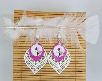 White and pink fairy earrings