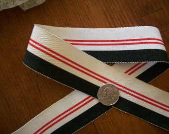 French vintage navy/white/red striped grosgrain/petersham ribbon 1 1/2 ""