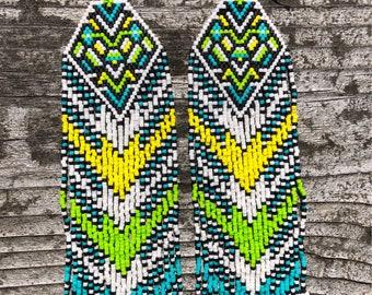 Handwoven Euclid Earrings - OOAK - fractal seed bead earrings - bold and beautiful