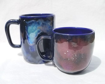 stoneware galaxy mug (11 oz & 17 oz) - handmade pottery stars coffee mug, ceramic astronomy coffee cup, wheel-thrown nebula pottery tea cup