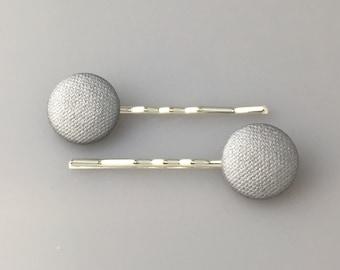 Metallic Silver Fabric Covered Button Hair Pins