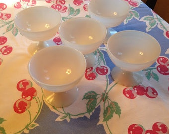 Moderntone Sherbet Glasses Set of 5, Hazel Atlas Milk Glass, White Opaque Sherbet Cups