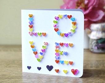 LOVE Handmade Card - I Love You Card - Wedding Card -  Love Hearts - Valentines Card - Anniversary Card - To The One I Love - 3D Card - BH02