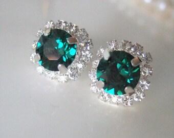 Emerald Swarovski Earrings,Green Stud Earrings,Red or Green,Green Crystal studs,Rhinestone Stud Earrings,Emerald Ear Studs,Sparkling Jewelry