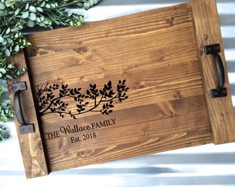Rustic Personalized Serving Tray, Cutting Board Tray, Rustic Wedding Gift, Anniversary Gift