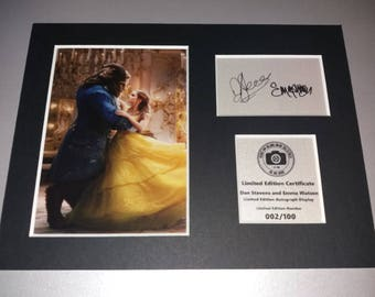 Emma Watson and Dan Stevens - Beauty and the Beast - Belle and Beast - Signed Autograph Display - Fully Mounted and Ready To Be Framed V1