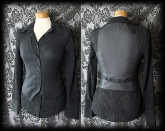 Gothic Black CRIME OF PASSION Fitted Corset Waistcoat 6 8 Victorian Steampunk