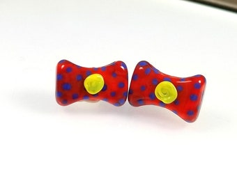 Glass Beads Bow-Red-Yellow-Purple-Glass bow-beads for earrings-earrings making-making jewelry-artisan lampwork