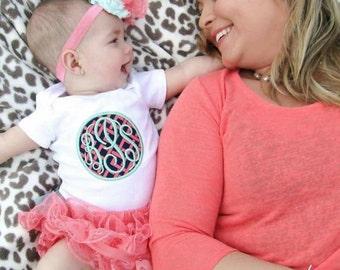 Monogram outfit. Baby monogram onsie