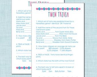 Twin Trivia Baby Shower Game For Boy Girl Twins In Blue And Pink