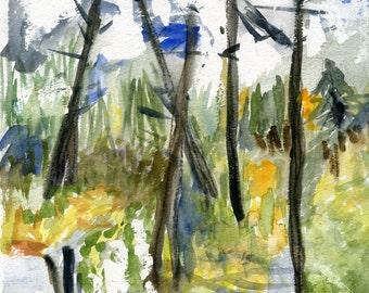 Northern Landscape // a colourful watercolour painting / ooak / original