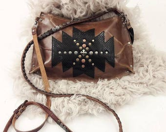 Cognac Aztec Crossbody Bag