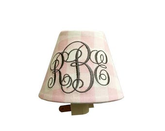 Plaid Bella Monogrammed Night Light -Pink White Night Light Girl Room- Nursery Night Light-Wall Decor-Your Choice of Color for Monogram