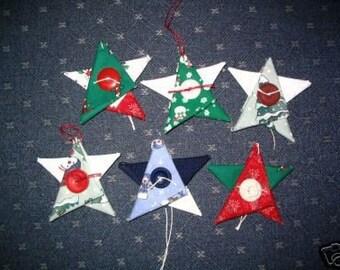 Fabric Christmas Ornaments set of 6