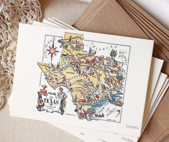 Texas map greeting card set funny texas greeting cards m4hsunfo