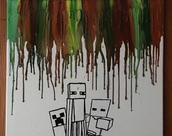 Inspired minecraft melted crayon art painting
