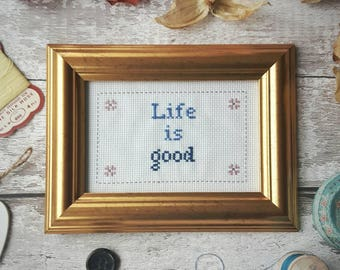 Custom cross stitch /  needlepoint sampler personalised with the words of your choice. Framed and hand stitched! The perfect gift.