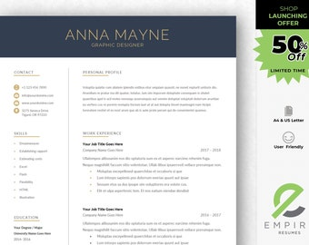 Modern Resume Template | Professional CV Template for Word | Instant Download | 1, 2 and 3 Page Resume | Mac & PC | Cover Letter