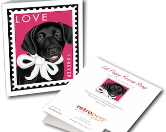 "Black Labrador Cards  ""Lab LOVE"" 6 Small Greeting Cards by Krista Brooks"