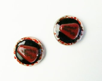 HIV Virus Fused Glass Magents One Pair