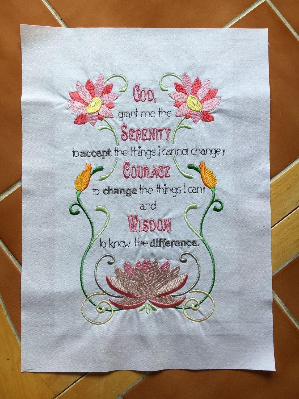Oración de la serenidad - máquina bordado edredón bloque - listo ...