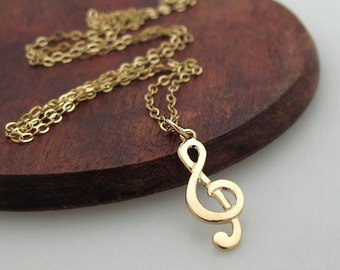 Sol Note Necklace - Gold Treble Clef Pendant for Her - Music Note Necklace - Musician Gift - Music Jewelry - Music Necklace. Dainty Necklace