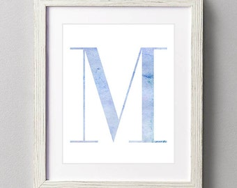 Letter M | Nursery Print | Nursery Art | Alphabet | Instant Download | Digital Print | Wall Art | Baby Boy | Initials | Blue | Watercolor