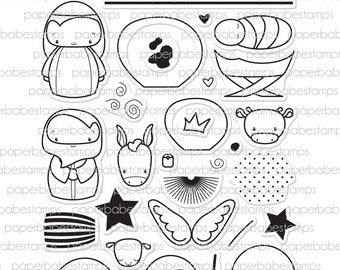 Cute Nativity Stamp Set - Paperbabe Stamps - Clear Photopolymer Stamps - For paper crafting and scrapbooking.
