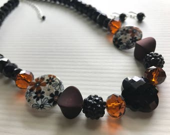 Brown and Black Crystal Necklace Set