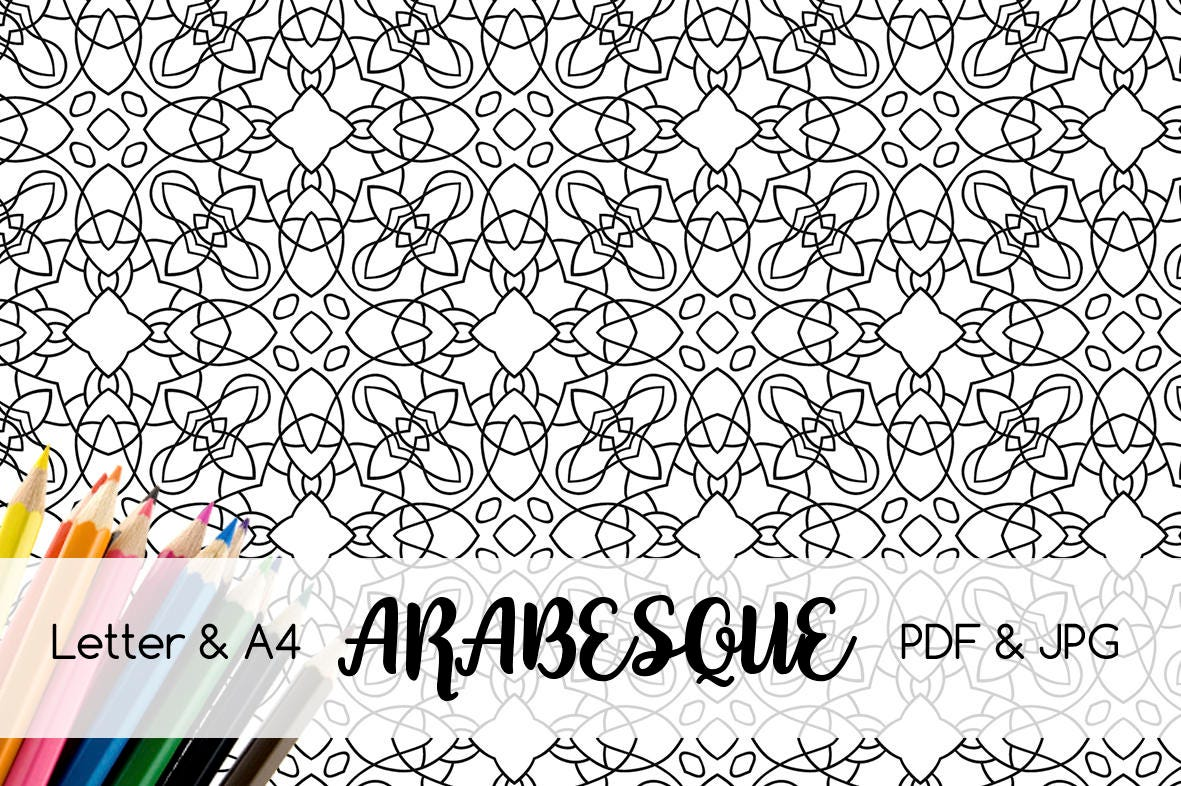 Black and white Decorative pattern Arabesque Coloring page