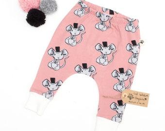 Organic Harem Pants: Baby Harem Leggings, Toddler Harems, Organic Baby Clothes, Hipster Baby Clothes, Pink Harems, Cute Baby, Mouse Leggings
