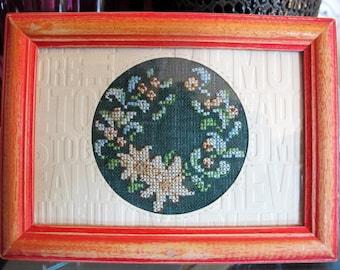 Beige floral wreath chalkboard