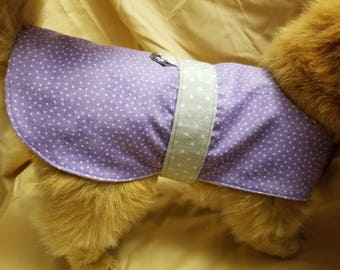 Purple Polka Dot Flannel Dog Coat