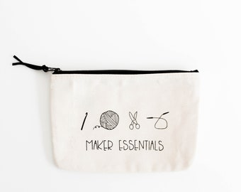 Notions Pouch For Knitting And Crochet, Maker Bag, Knitting Notions Bags, Knitting Bags, Zippered Pouches for Knitters / Maker Essentials
