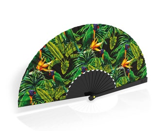 """Khu Khu Hand-Fan / Abanico with """"Green Parakeet"""" tropical print from the Flight of Fancy Collection"""