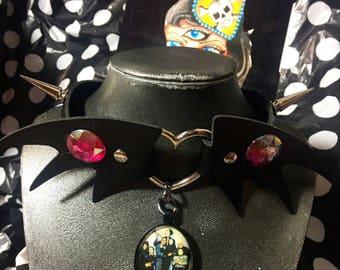 Addams Family Bat Wing Studded Choker