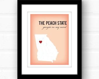 Georgia peach art | Georgia on my mind | Atlanta, Georgia art | Georgia print | custom state wall art