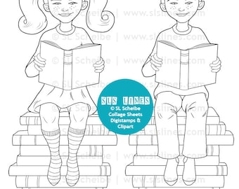 Book lover digital stamps, kids reading with book piles digistamp, fun coloring page by SLSlines, library book piles