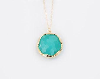 Mint Glass Pendant Necklace - Miabell