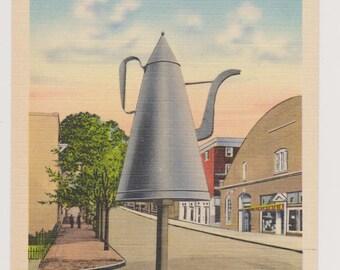 Vintage Linen Postcard, The Big Coffee Pot, Winston-Salem N.C., Landmarks,Unused