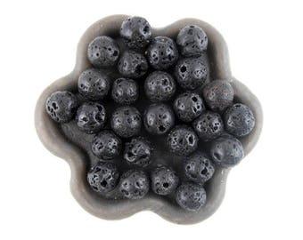 x 50 (10) 6mm black lava beads