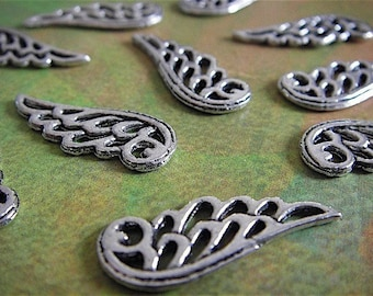 10 - Antique Silver - Angel Wing Charm (ASAWC)