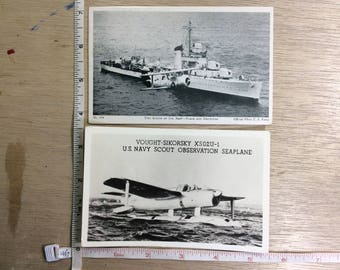Vintage Lot Of Two Post Cards US Navy Scout Seaplane Vought-Sikorsky XS02U-1 Used