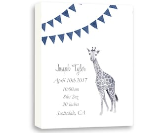 Baby Boy Canvas Watercolor Giraffe In Navy, Personalized Birth Announcement Gift for Baby, G1002C