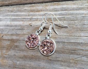 Champagne Druzy Dangle earrings, Fishhook earrings, cabochon earrings, 12mm earrings, Gifts for her, Druzy Earrings, Stocking Stuffer