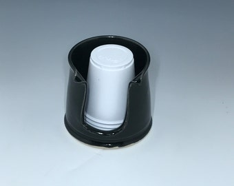 Porcelain Bathroom Cup Holder (3 Ounce) - Black Cup Holder - Pottery Bathroom Cup Holder Cup Holder - Ready To Ship