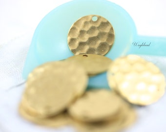 Hammered Textured 13mm Round Brass Tag Stampings ONE Hole - 10