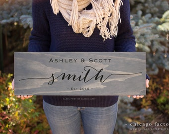 First And Last Name Wood Sign, Established Date Custom Wooden Sign, Wedding Gift, Engagement Gift, Personalized Anniversary Gift (GP1009)